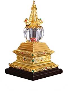 AILSAYA Estupa Cristal Bodhi, Productos Budistas, Estupa Ritual Tantric, Pantalla De Acrílico, Patrón Exquisito, Incrustaciones De Bola, Adecuado para Futang