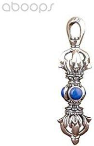 Colgante clásico de plata de ley 925 con diseño budista Vajra Dorje y lapislázuli para hombre y mujer, clásico