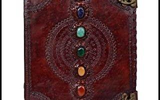 Cuaderno de cuero con piedra medieval de siete chakras, hecho a mano, libro de sombras