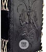 Diario de cuero hecho a mano con sello de Baphomet Bafomet Lord Satanic Idol. Cuaderno de sombras