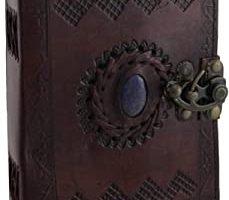 Diario de piel tamaño grande Celtic libro de sombras azul piedra en blanco, rellenable, diario personal con cierre para escritores