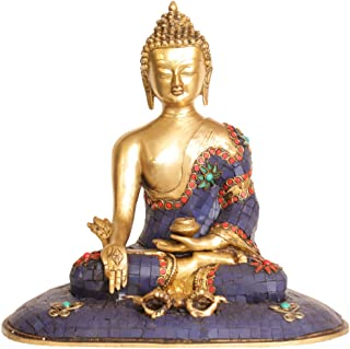Lapis Healing Buddha with Dorje and Holding Fruit and Leaves of Myrobalan Plant - Brass Statue