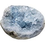 Piedra de racimo de geodas de celestita natural cristales de curación reiki decoración del hogar