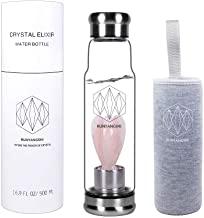 Runyangshi Crystal Elixir Botella de agua de vidrio con escultura de ángulo   16.9 oz Natural Gemstone botella de agua Incluye funda protectora cristal extraíble cuarzo rosa