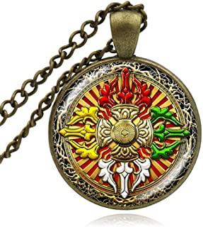 Tibetano Doble Dorje Mandala Collar Vidrio Cabujón Tibet Buddhismo
