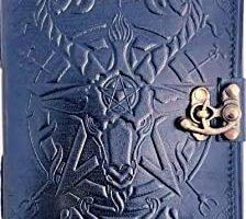 Urban Leather Saton Diario de Halloween – Libro Negro de Sombras y Hechizos Mágicos – Diario de bala – Diario de dibujo Cuaderno de recortes para su brujería, sin forro