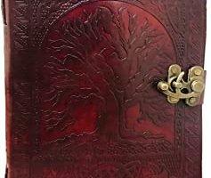 Wicca - Libro de sombras de piel. Diseño celta, cuero color marrón