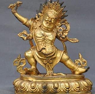 YHSTG Budismo Tibetano Antiguo Bronce Dorado Mahakala Dorje Buda Estatua